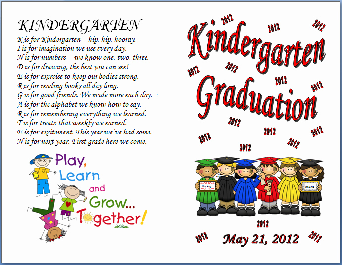 Graduation Ceremony Program Template Awesome Keeping Focused Kindergarten Graduation 2012