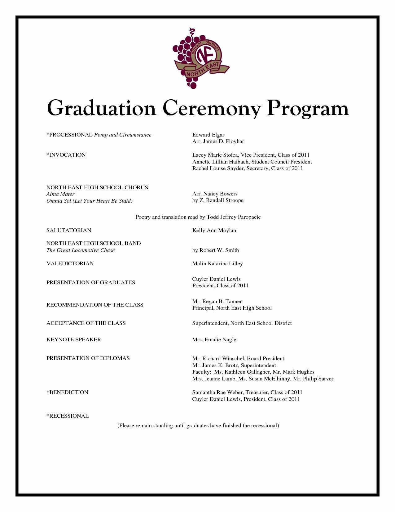 Graduation Ceremony Program Template Best Of Graduation Program Template Templates Collections
