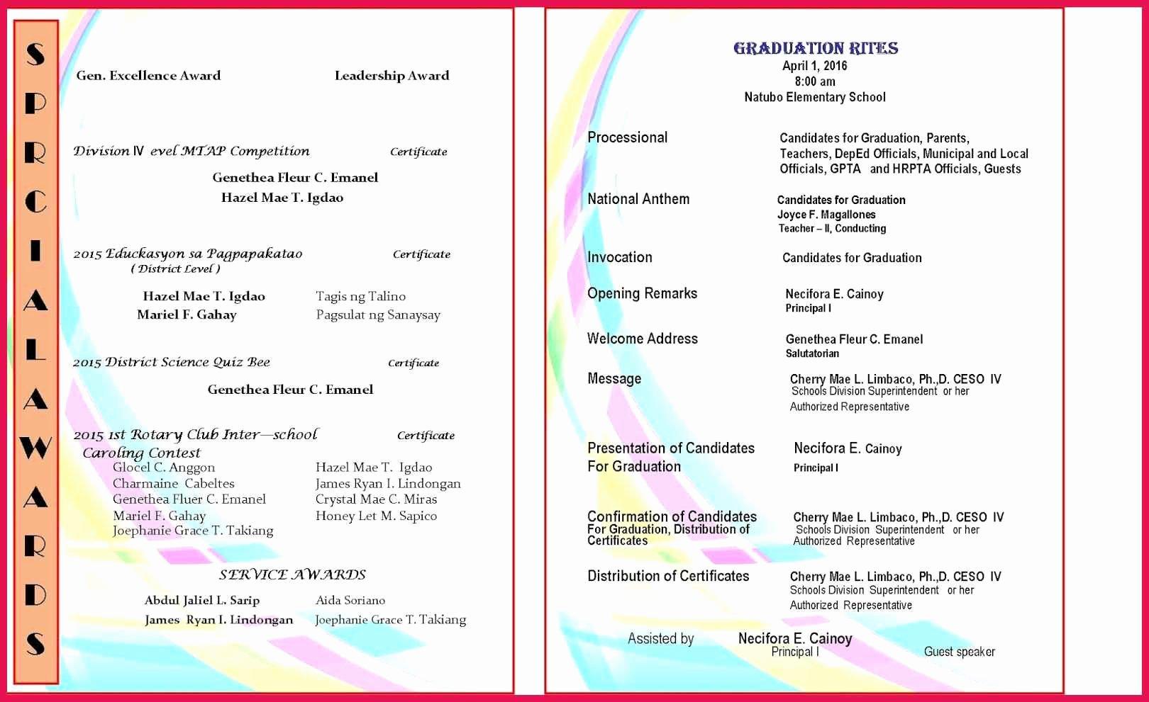 Graduation Ceremony Program Template Lovely Graduation Program Template