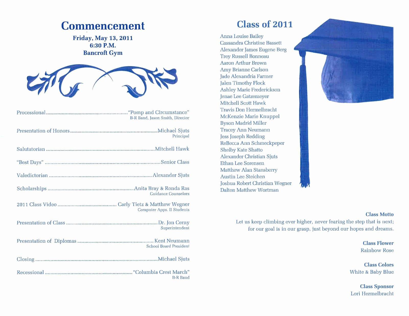 Graduation Ceremony Program Template Unique Graduation Program Template