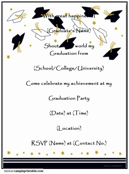 Graduation Invitation Template Word Unique Graduation Party Invitation Templates Free Printable