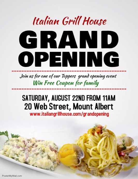 Grand Opening Flyer Template Awesome Restaurant Grand Opening Flyer Template