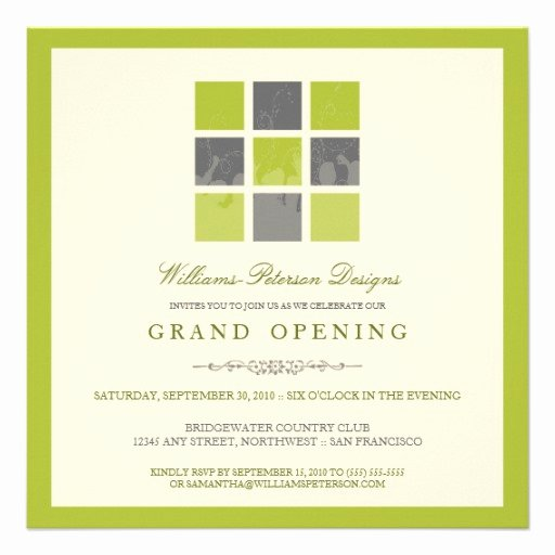 "Grand Opening Invitation Template Fresh Modern Blocks Grand Opening Invitation Lime 5 25"" Square"