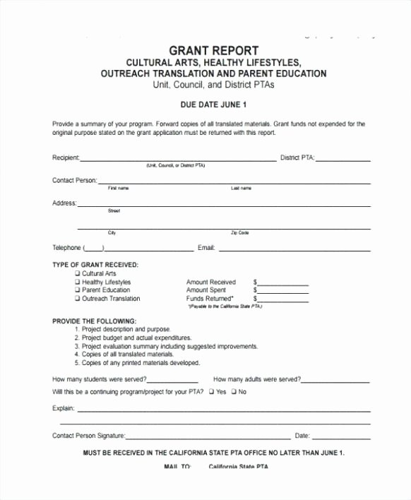 Grant Progress Report Template Awesome Grant Report Template Scholarship Application Template