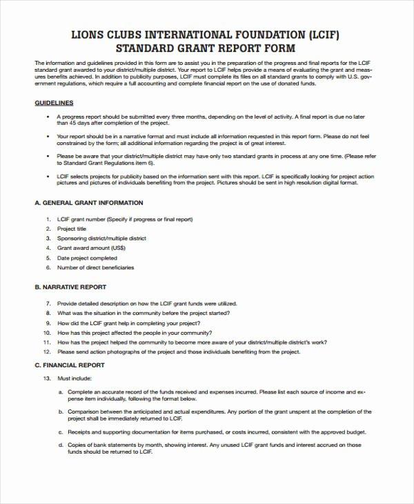 Grant Progress Report Template Luxury 37 Report Templates In Pdf