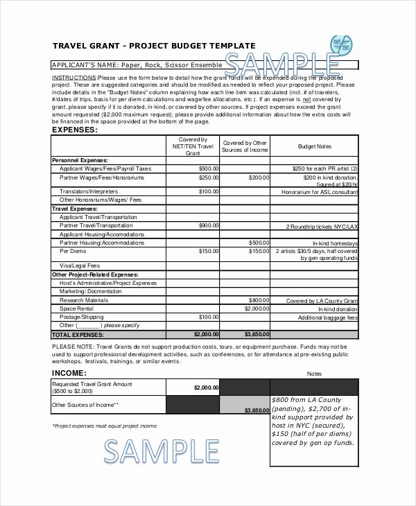 Grant Proposal Budget Template Best Of Grant Bud Templates 9 Free Pdf Documents Download