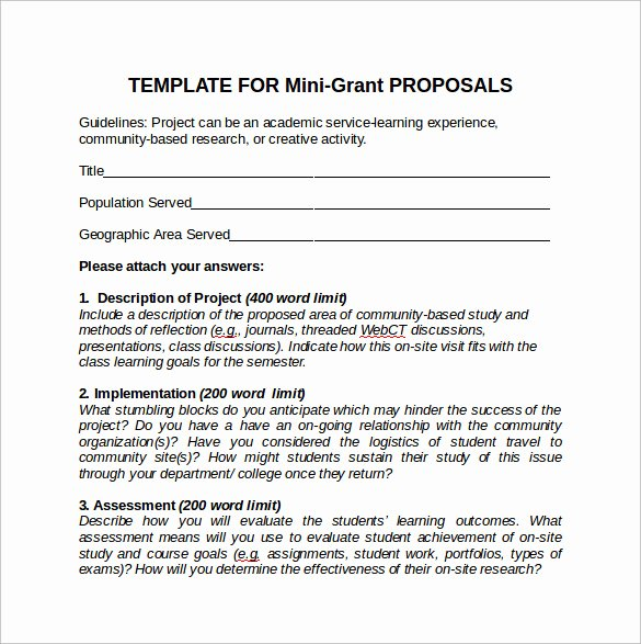 Grant Proposal Template Word Luxury Example Grant Proposal Template Fresh Grant Proposal