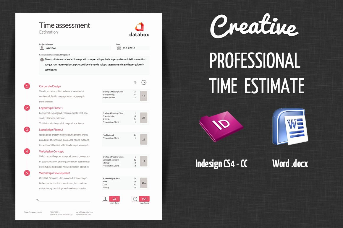 Graphic Design Estimate Template New Professional Time Estimate Stationery Templates