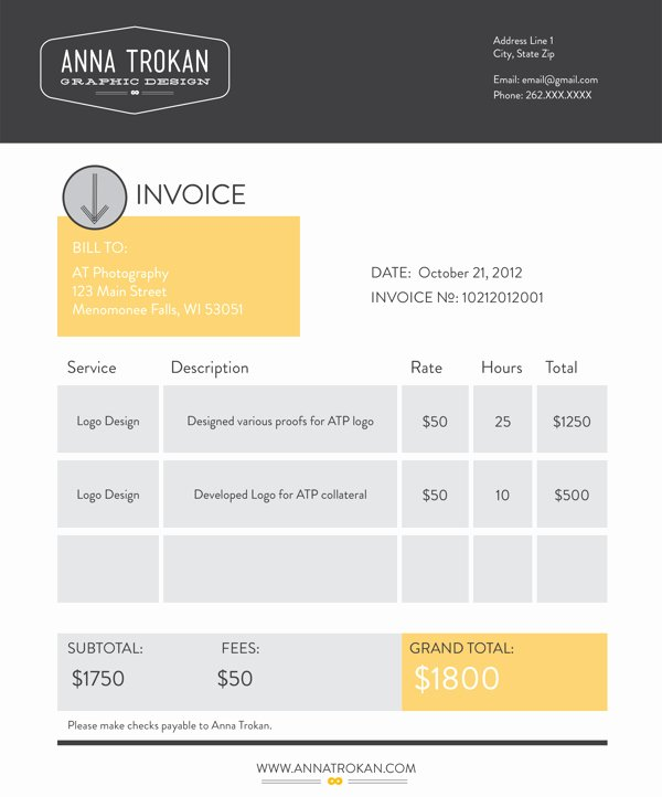 Graphic Design Invoice Template Best Of 10 Best Of Cool Invoice Template Creative Invoice