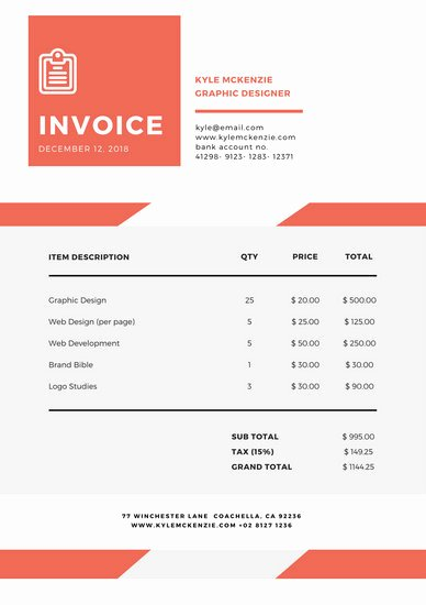 Graphic Design Invoice Template Lovely Customize 203 Invoice Templates Online Canva