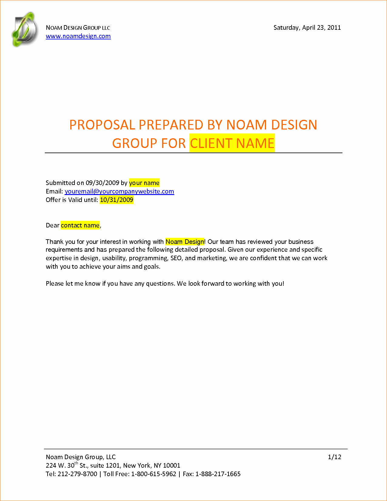 Graphic Design Proposal Template Fresh Graphic Design Proposal Example Portablegasgrillweber