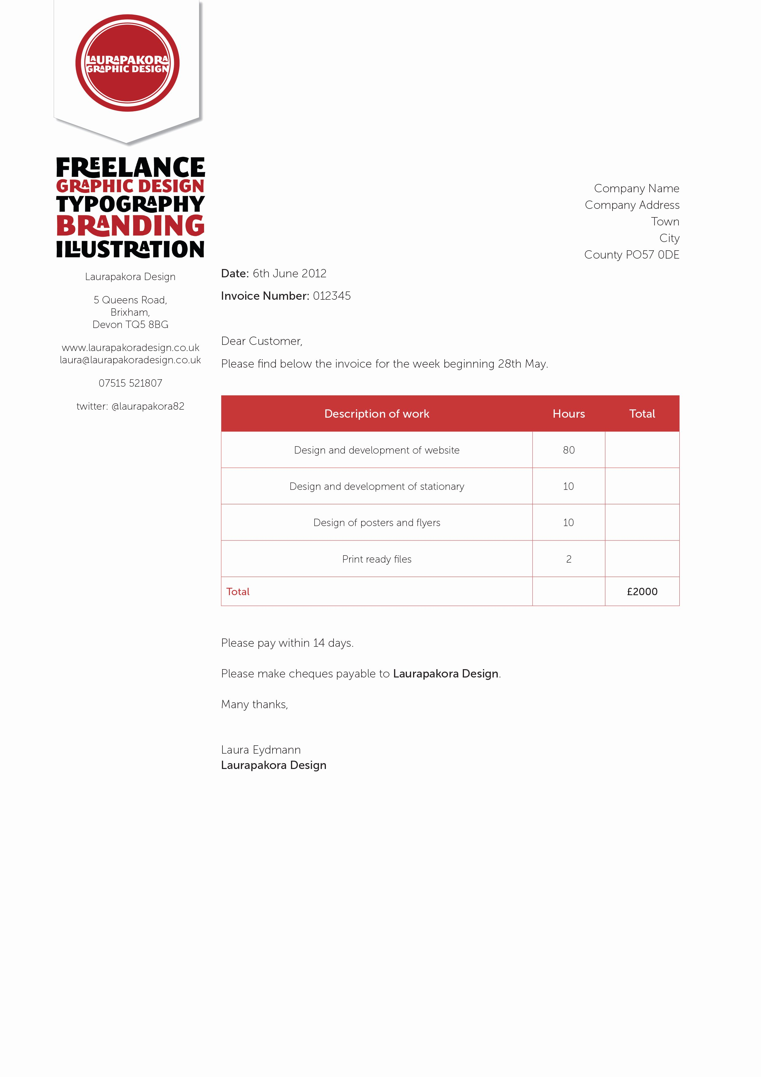 Graphic Designer Invoice Template Inspirational Graphy