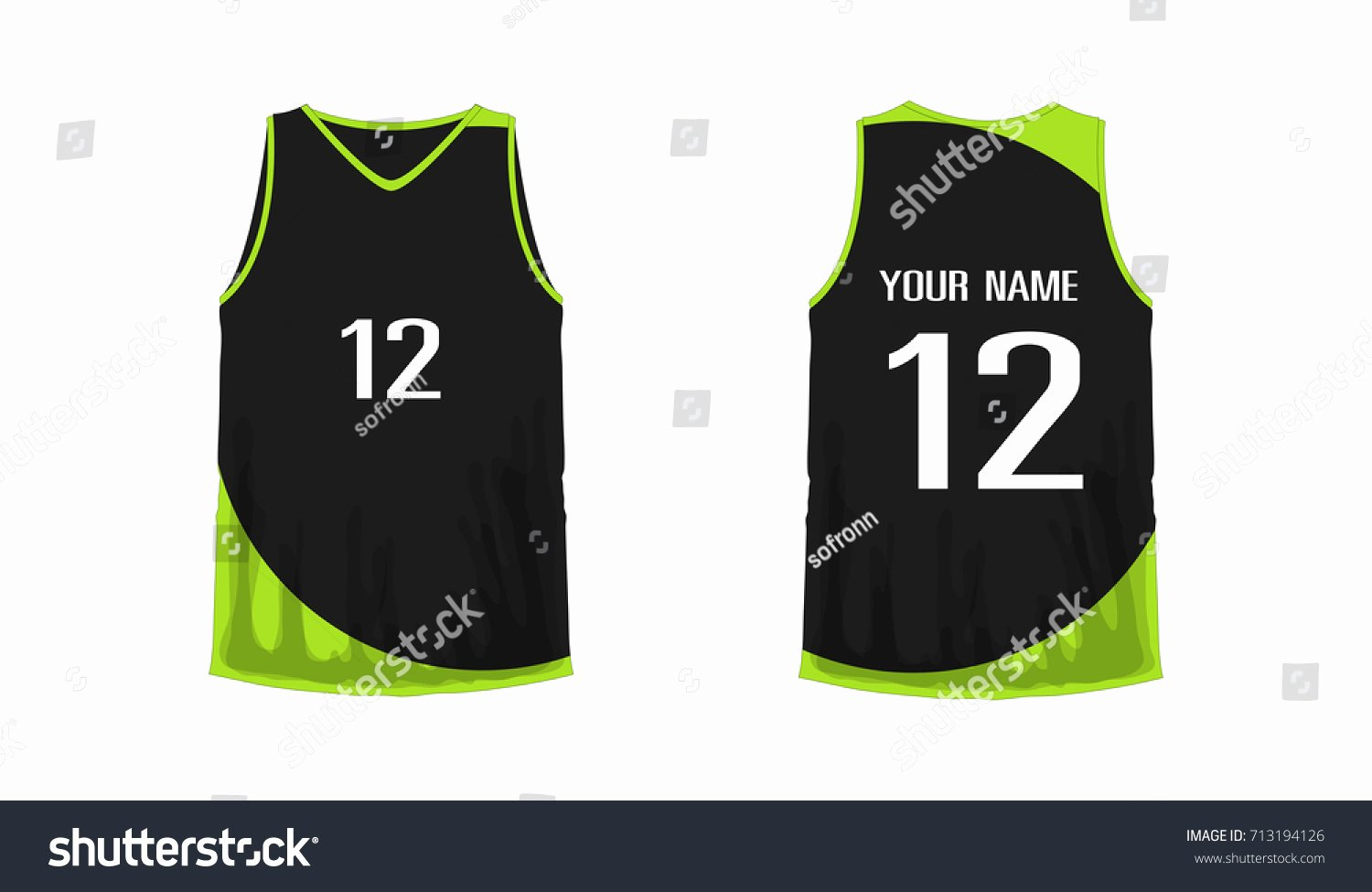 Green T Shirt Template Fresh Tshirt Green Black Basketball Football Template Stock