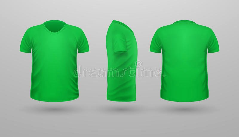 Green T Shirt Template Inspirational T Shirt Teplate Set Front Side Back View Vector Stock