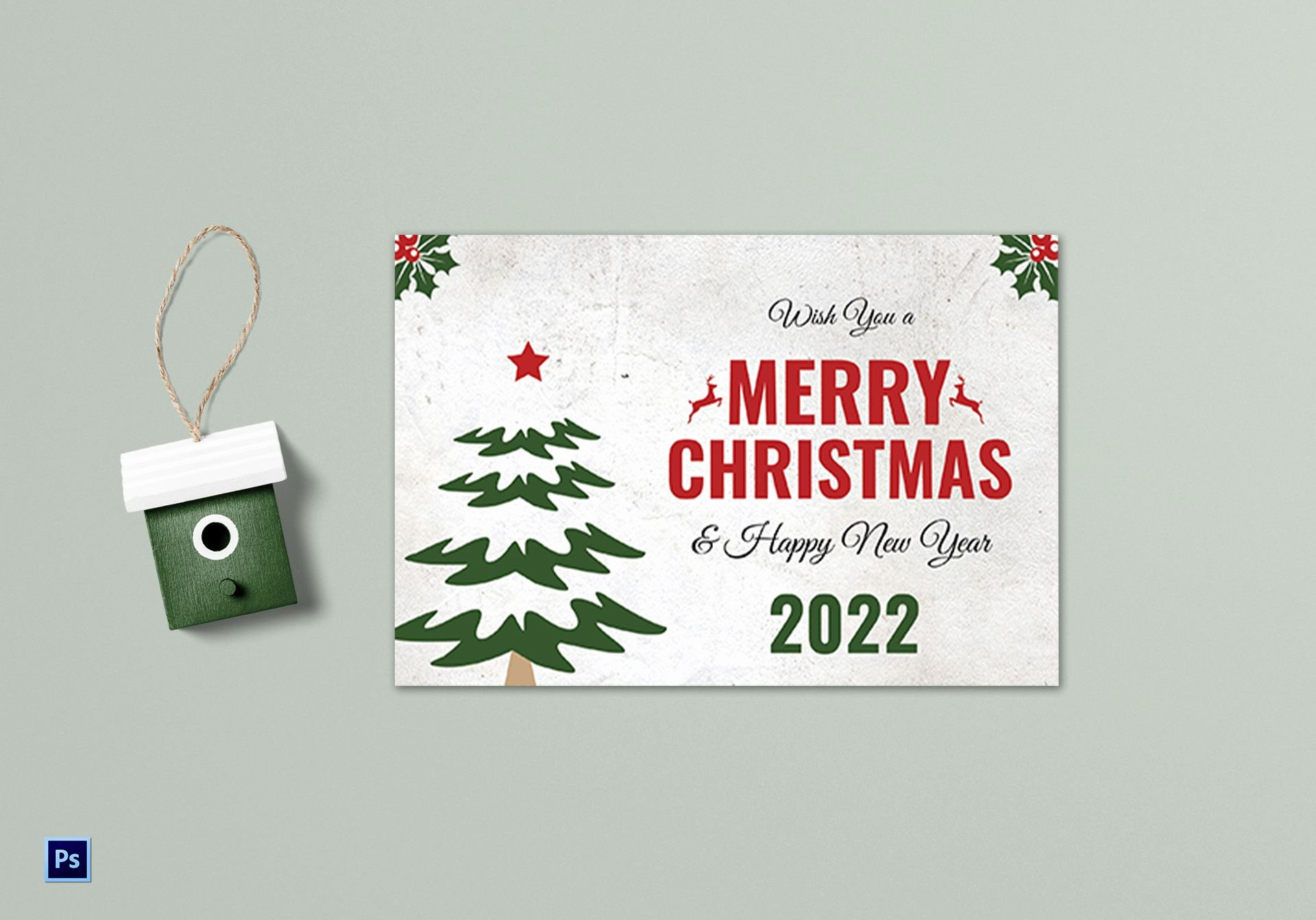 Greeting Card Template Photoshop Elegant Christmas Tree Greeting Card Template In Adobe Shop