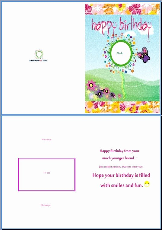 Greeting Card Template Word Unique Birthday Card Template Word