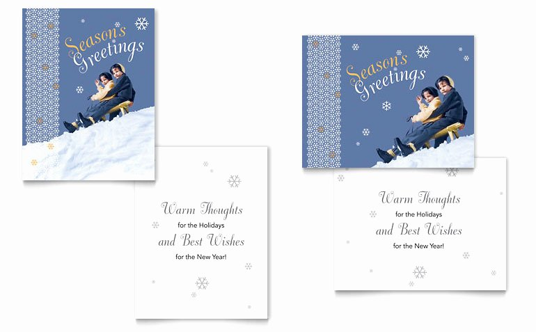 Greeting Card Template Word Unique Children Sledding Greeting Card Template Word & Publisher