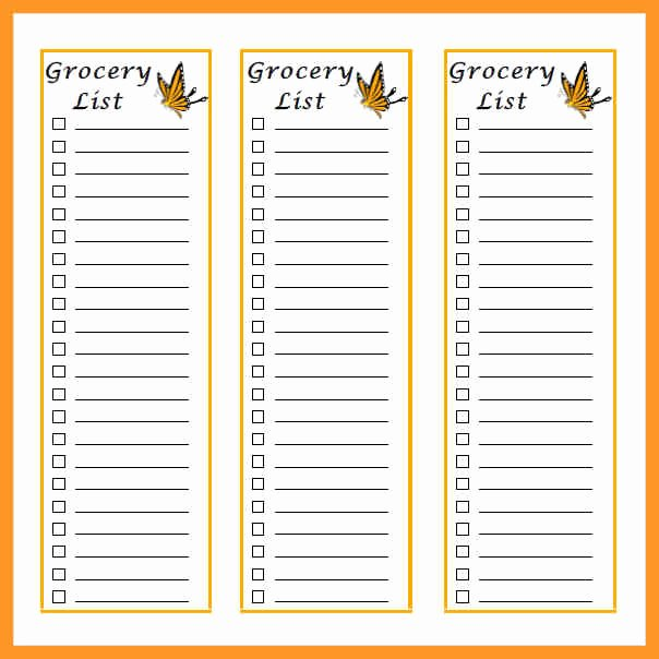 Grocery List Template Word Elegant Grocery List Template Word Document