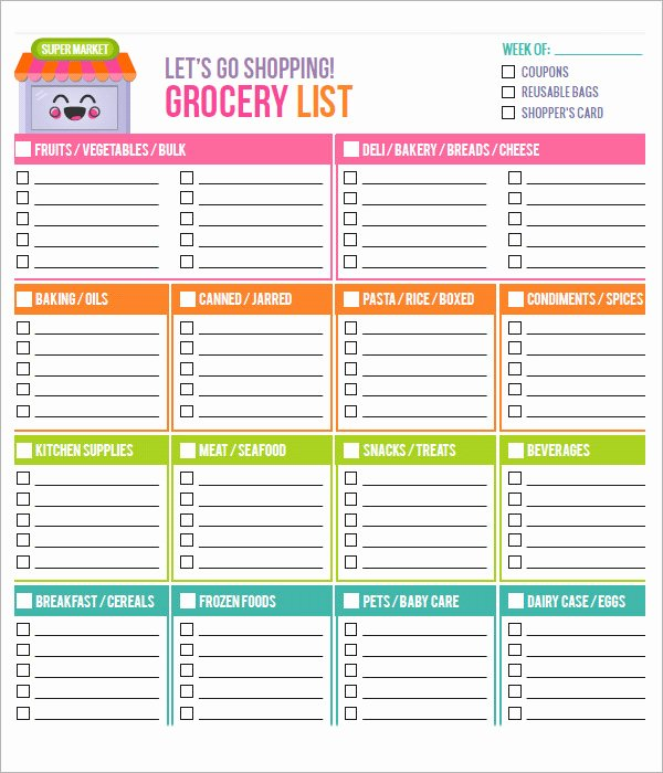 Grocery List Template Word Lovely 10 Free Printable Grocery List Templates