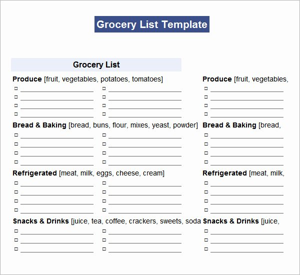 Grocery List Template Word Lovely Shopping List Template 11 Download Documents In Pdf Word