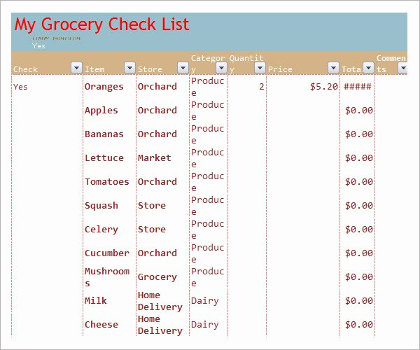 Grocery List Template Word Luxury Sample Grocery List Template 9 Free Documents In Word