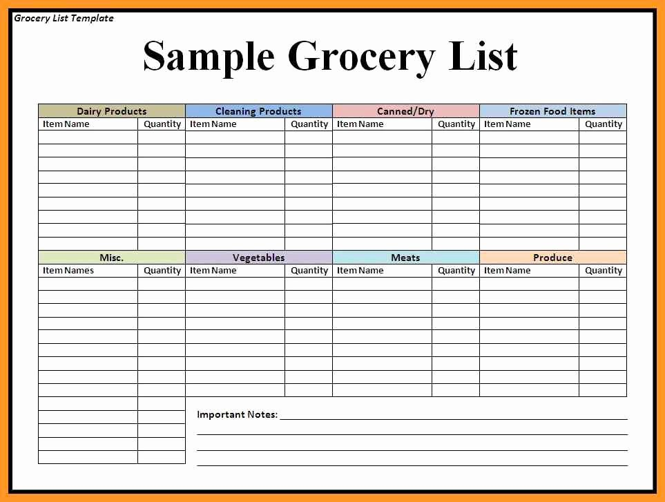 Grocery List Template Word New Grocery List Template Word Document