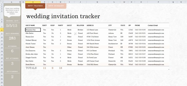 Guest List Template Excel Awesome 7 Free Wedding Guest List Templates and Managers