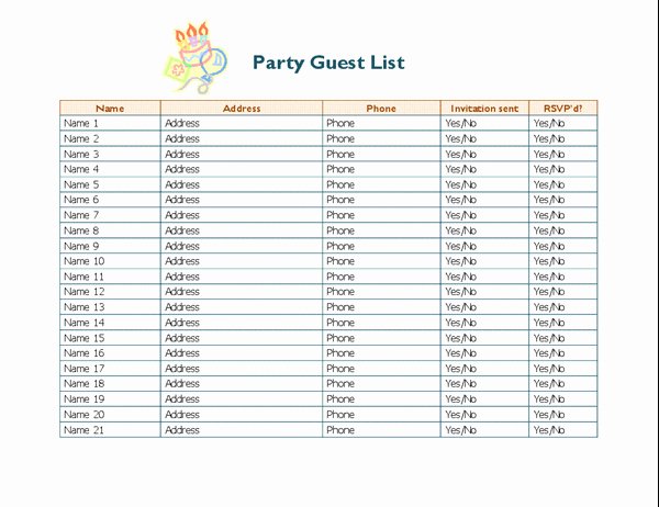 Guest List Template Excel Awesome Party Guest List