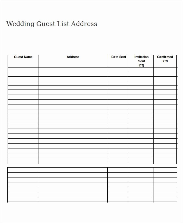 Guest List Template Excel Beautiful Wedding Guest List Template 9 Free Word Excel Pdf
