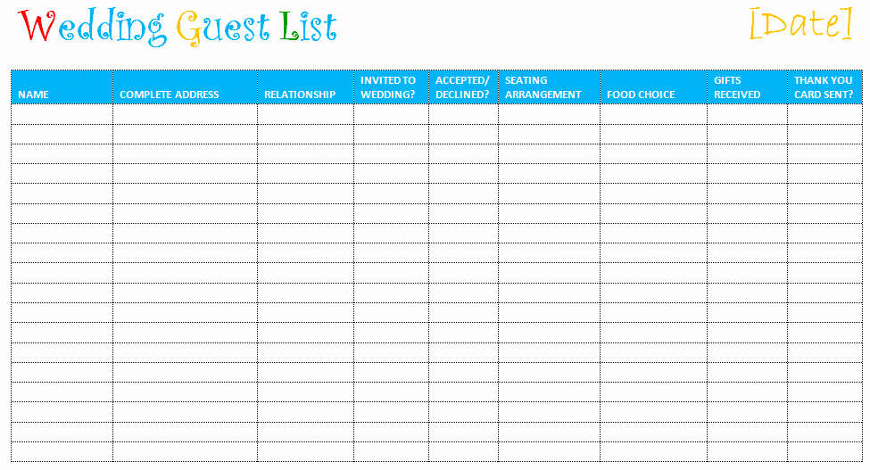 Guest List Template Excel Best Of Free Editable Wedding Guest List Templates – Document