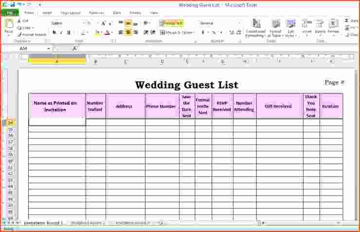 Guest List Template Excel Inspirational 6 Wedding Guest List Template Excel Bookletemplate
