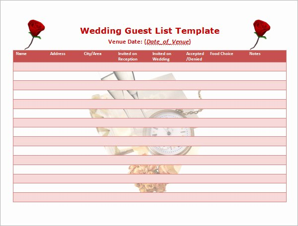 Guest List Template Excel New 17 Wedding Guest List Templates – Pdf Word Excel