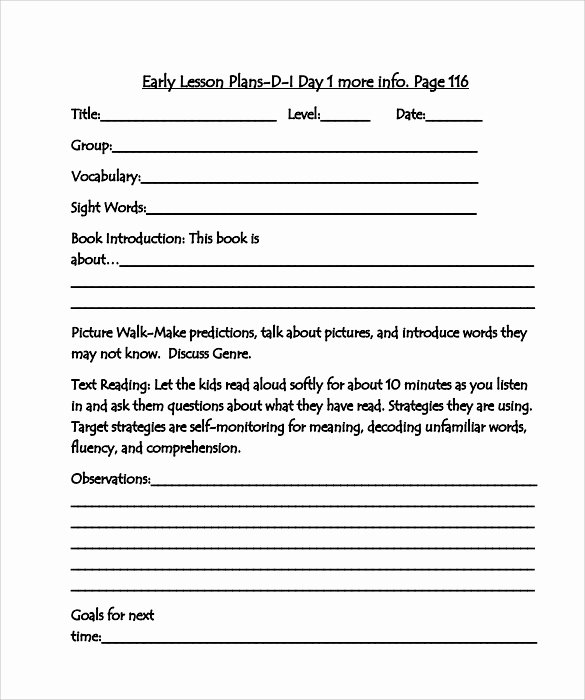 Guided Reading Template Pdf Elegant 10 Sample Guided Reading Lesson Plans