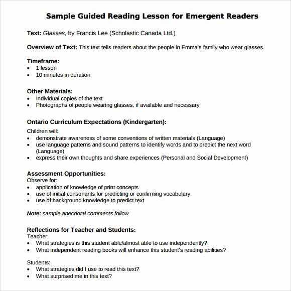 Guided Reading Template Pdf Lovely Sample Guided Reading Lesson Plan 8 Documents In Pdf