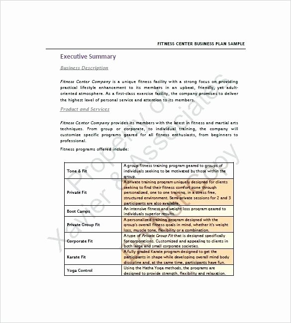 Gym Business Plan Template Luxury Business Plan for A Gym Gym Business Plan Template