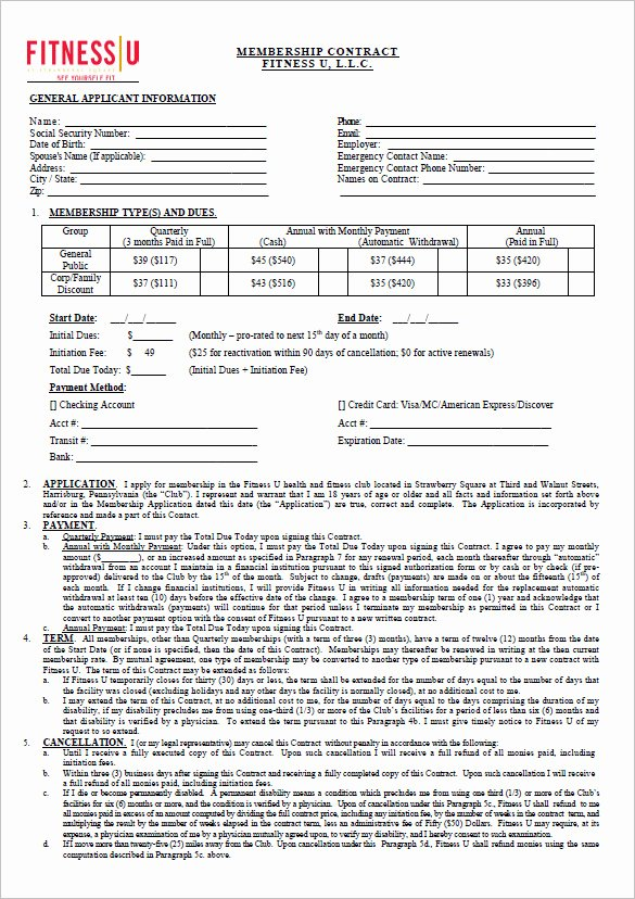 Gym Membership Agreement Template Awesome 16 Gym Contract Templates Word Docs Pages