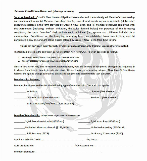 Gym Membership Agreement Template Best Of 12 Gym Membership Receipt Samples & Templates – Pdf Word