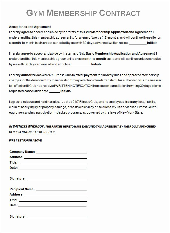 Gym Membership Agreement Template Best Of Gym Contract Template – 13 Free Word Pdf Documents