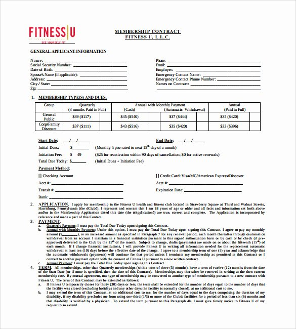 Gym Membership Agreement Template Elegant 11 Gym Contract Templates to Download for Free