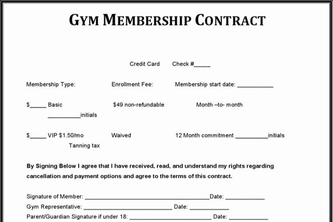 Gym Membership Agreement Template Fresh 14 Gym Contract Template Free Download