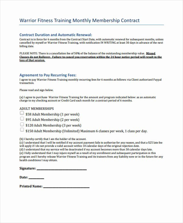 Gym Membership Agreement Template Lovely 42 Sample Contract Templates