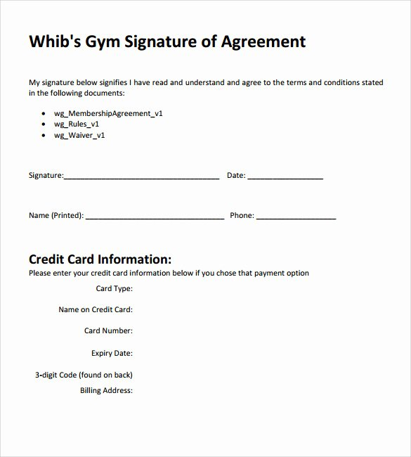 Gym Membership Agreement Template Luxury 11 Gym Contract Templates to Download for Free