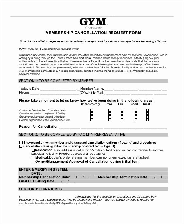 Gym Membership Agreement Template Luxury 7 Cancellation Letter Templates Pdf Doc