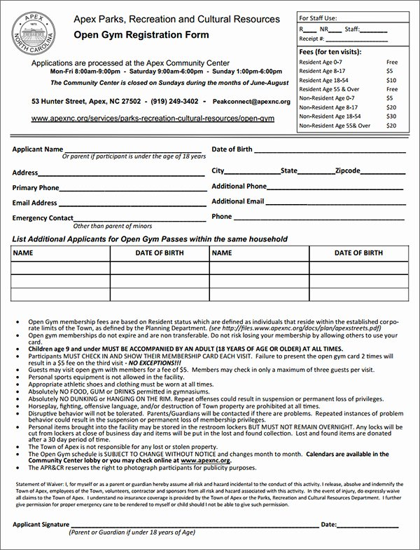 Gym Membership Agreement Template Luxury Gym Membership Registration form Sample forms