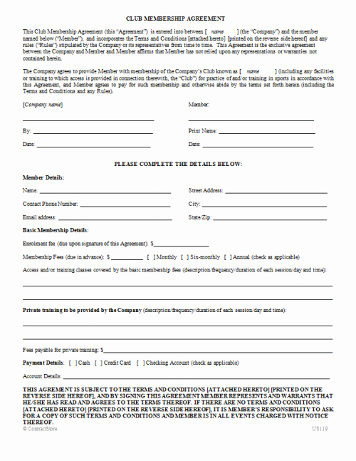 Gym Membership Contract Template Best Of Club Membership Agreement