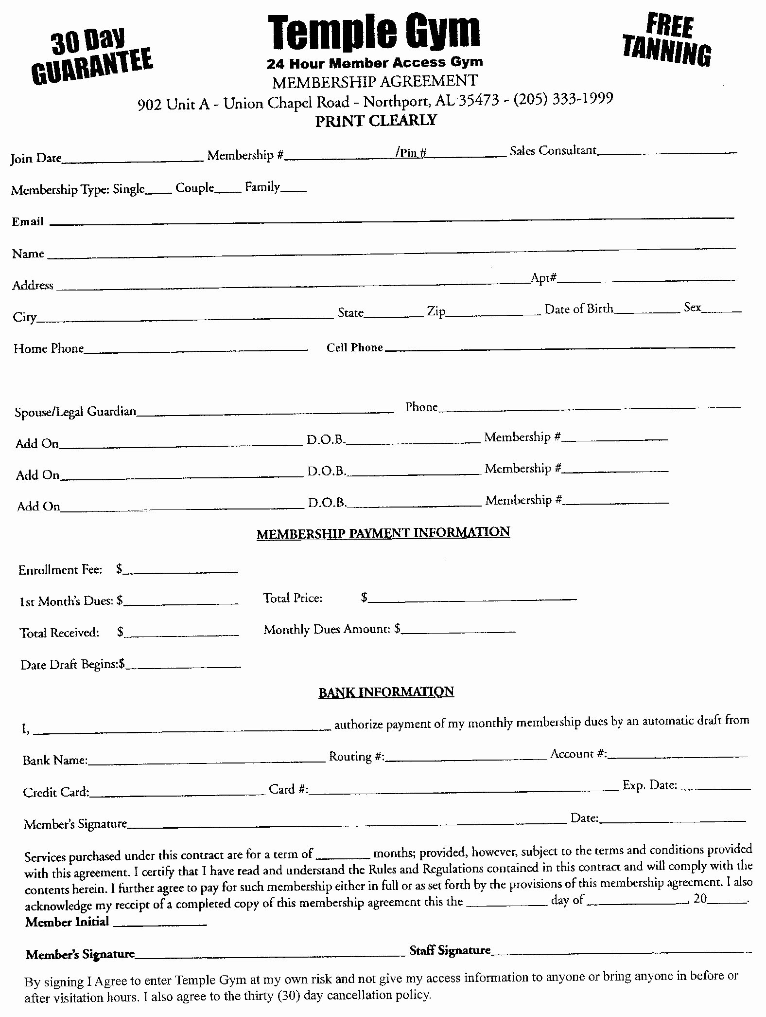 Gym Membership Contract Template Inspirational Free Fitness Center Legal Membership Waiver forms for Gyms