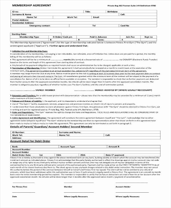 Gym Membership Contract Template Lovely 8 Gym Membership Contract Templates Pages Docs Word