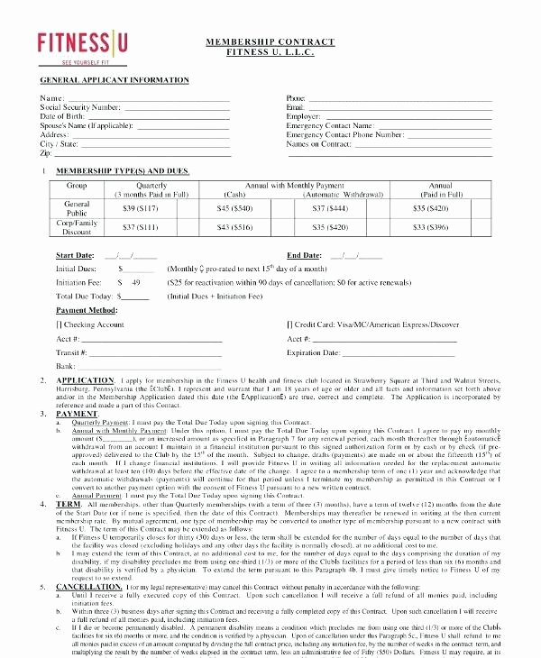 Gym Membership Contract Template Luxury Gym Membership Contract Template – Ddmoon