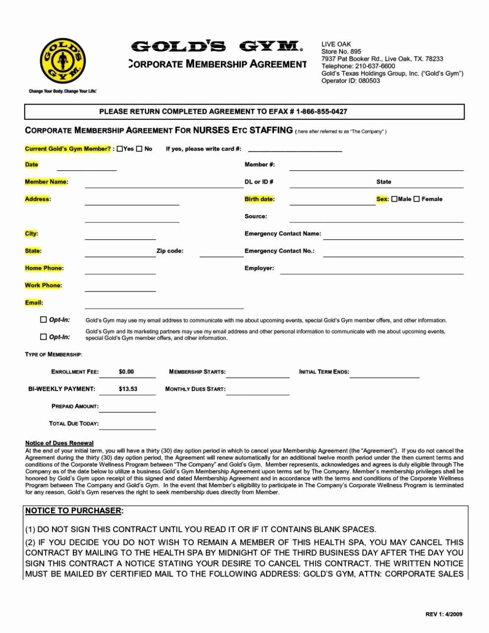 gym membership agreement template
