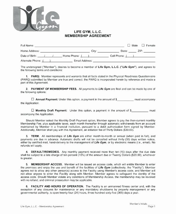 Gym Membership Contract Template Unique Membership Contract Template Gym Membership Contract
